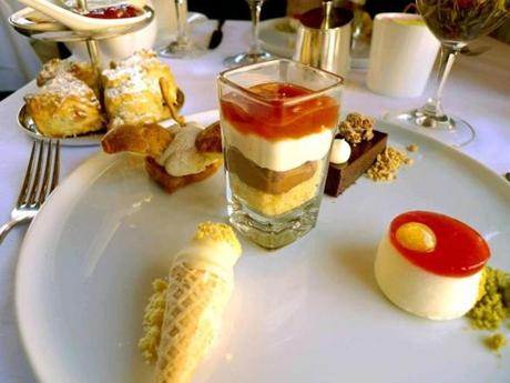 Earl Grey trifle among the pastries on the tea plate at L'Espalier.